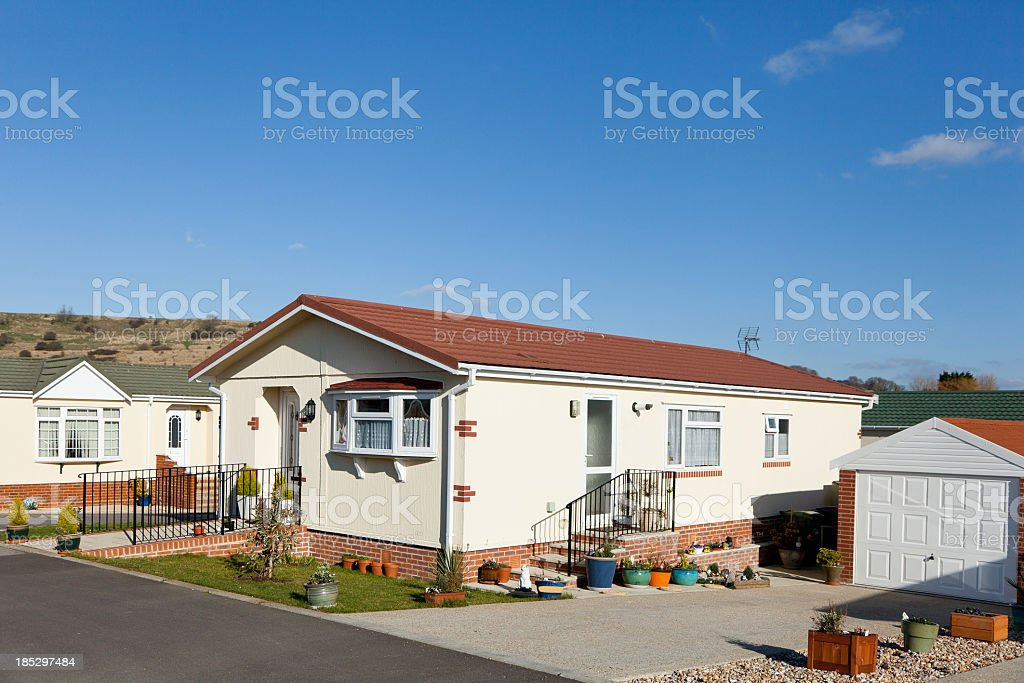 Residential mobile park homes during day stock photo