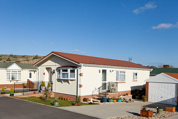 Residential mobile park homes during day Residential mobile park home estate.  Generally this type of caravan park estate is for home owners over the age of fifty years. manufactured housing stock pictures, royalty-free photos & images