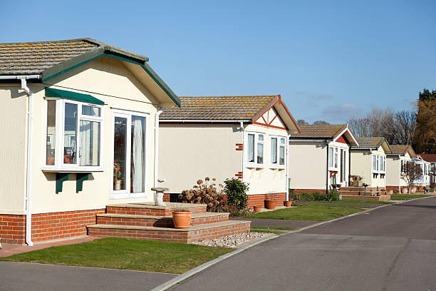 Residential mobile park homes Residential mobile park home estate.  Generally this type of caravan park estate is for home owners over the age of fifty years. manufactured housing stock pictures, royalty-free photos & images