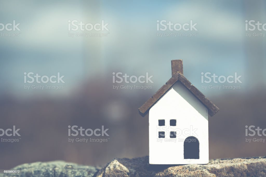 Residential model and landscape copy space stock photo