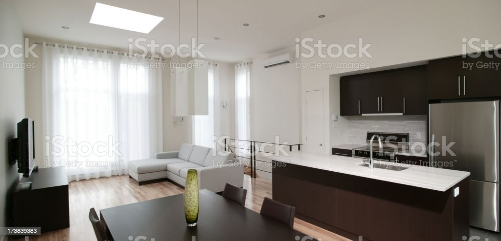 residential Modern kitchen and living room royalty-free stock photo