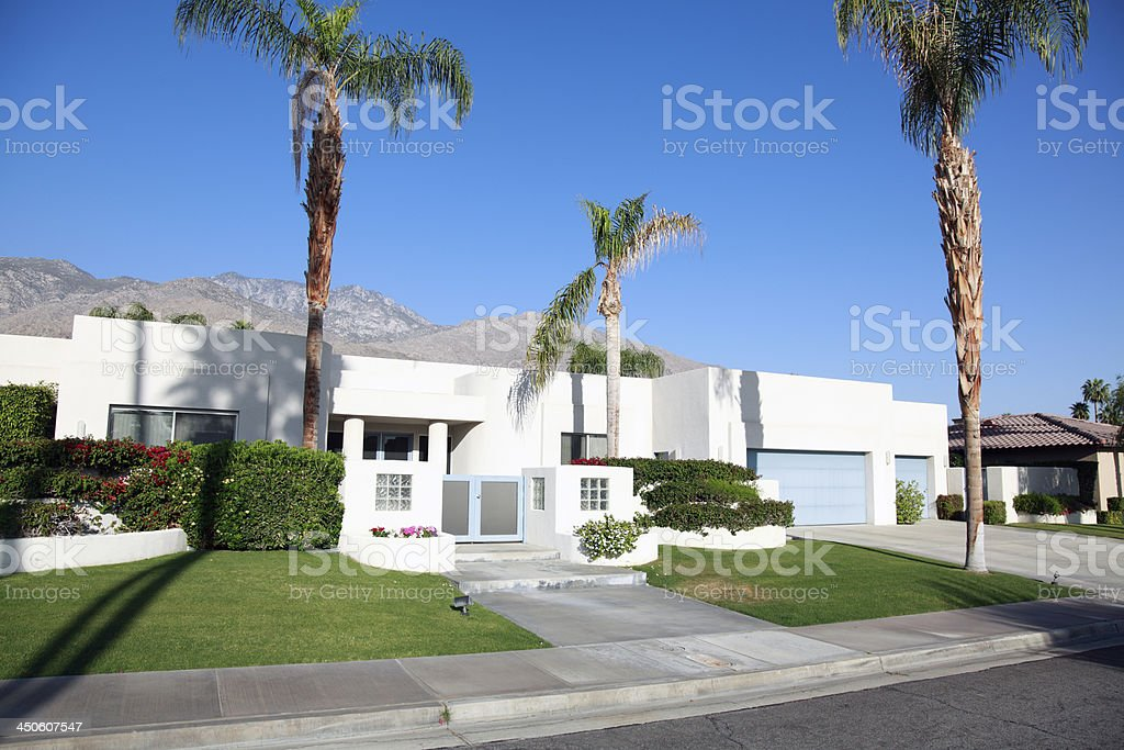 Residential  Modernism Against A Clear Blue Sky royalty-free stock photo