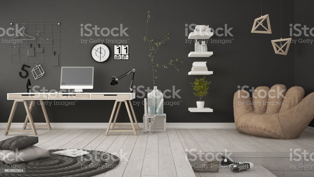 Residential Multifunctional Room With Home Office, Workplace, Scandinavian  Minimalist Interior Design ロイヤリティフリーストック