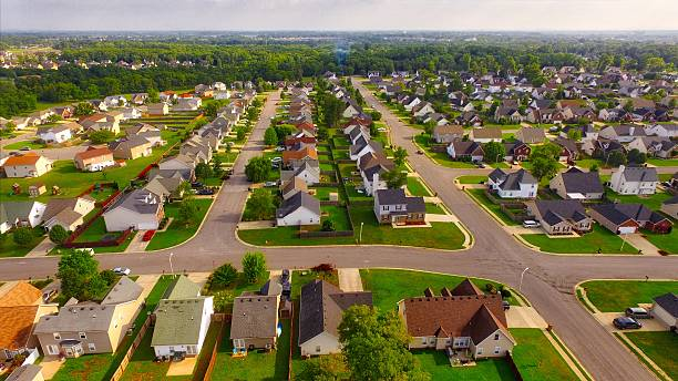 Residential neighborhood aerial in Murfreesboro, Tennessee Residential subdivision in Murfreesboro, TN. Rows of houses in suburban America. tennessee stock pictures, royalty-free photos & images