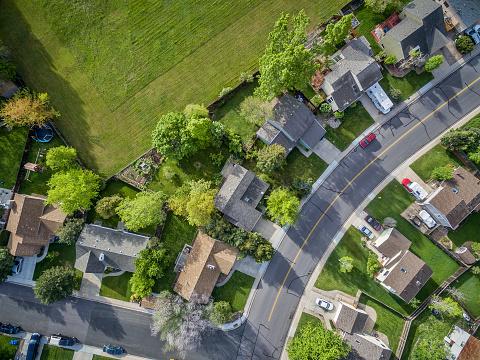 Wohnviertel Luftbild Ansehen Stockfoto und mehr Bilder von Auto