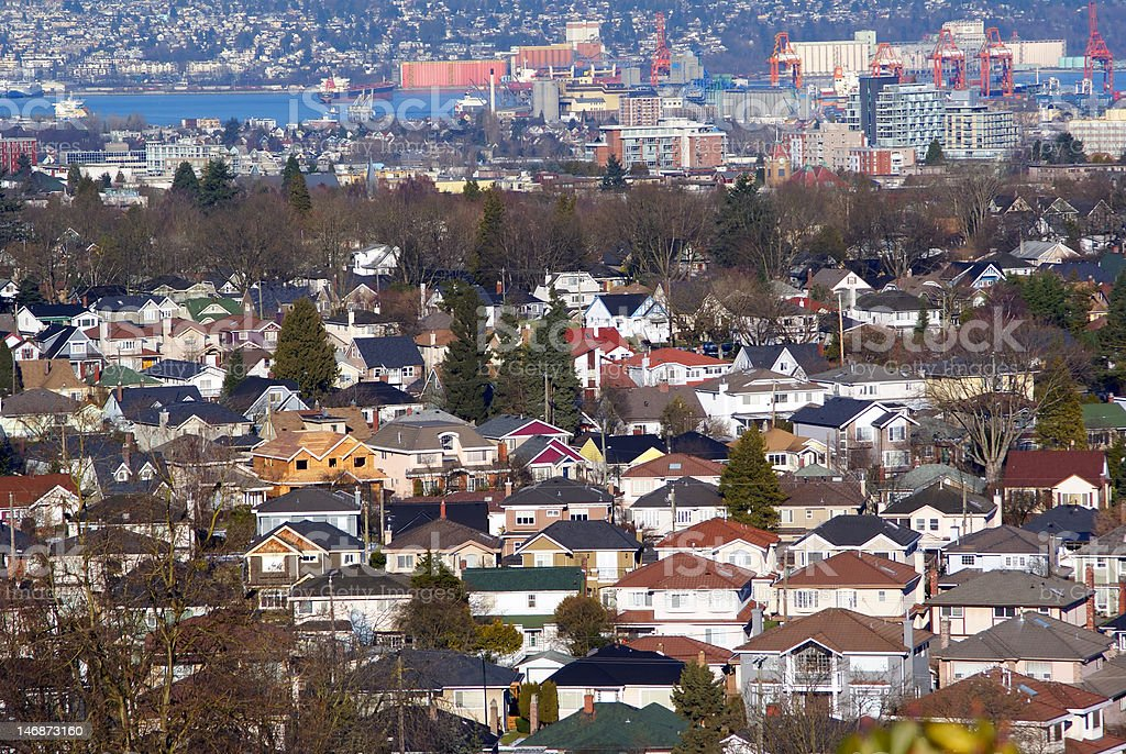 Residential neighborhood in Vancouver with Burrard Inlet stock photo