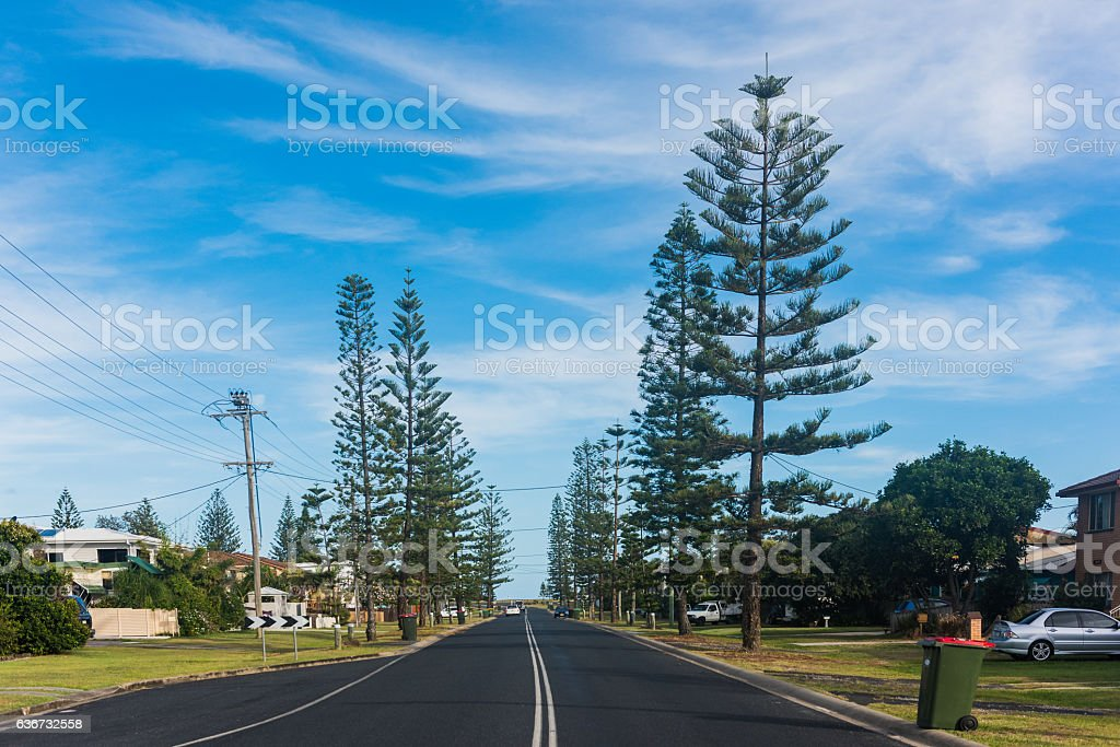 Residential road in Yamba, Australia stock photo
