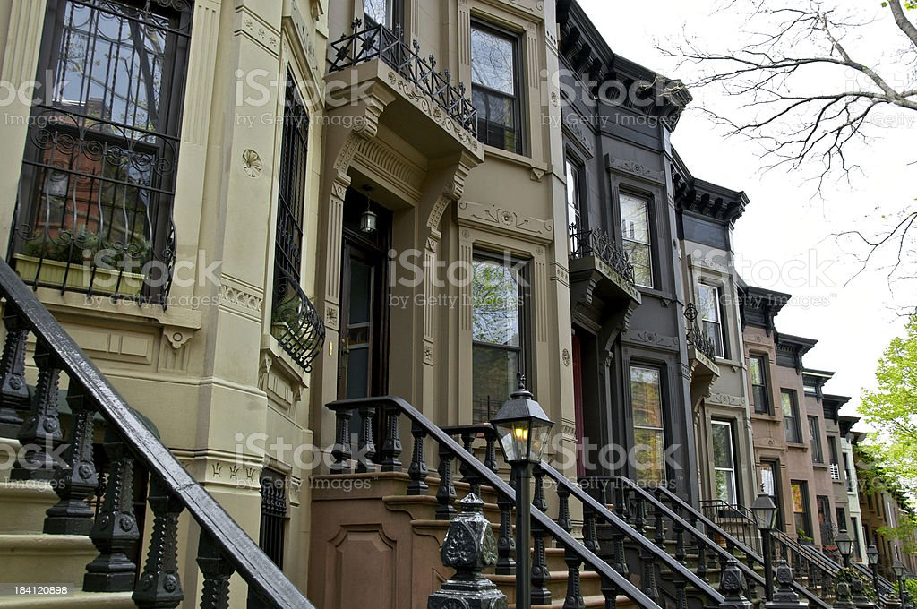 Residential row homes, Park Slope, Brooklyn, New York City, USA royalty-free stock photo