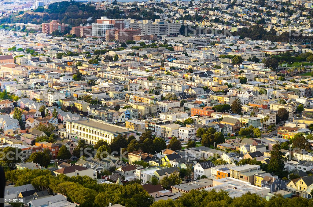 Residential San Francisco at Sunset stock photo