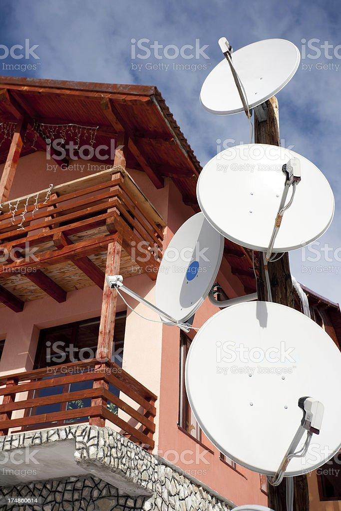 Residential satellite dish royalty-free stock photo