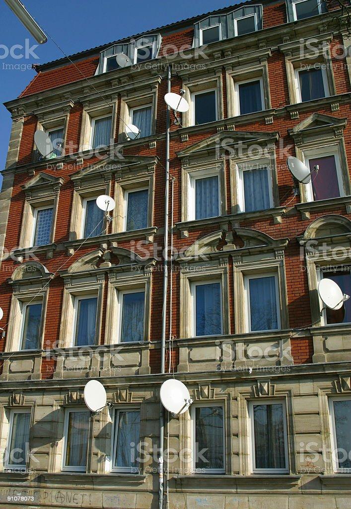 residential satellite dishes stock photo