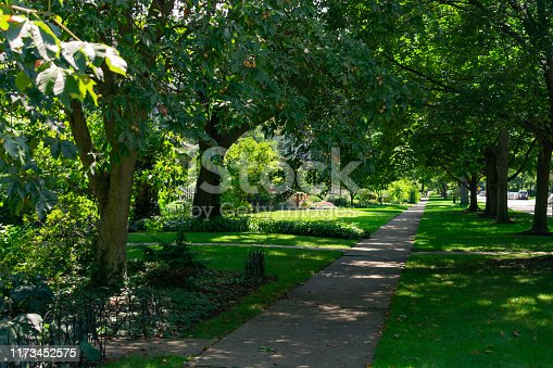 A residential sidewalk near homes and green trees providing shade during the summer in the Chicago suburb of Evanston Illinois
