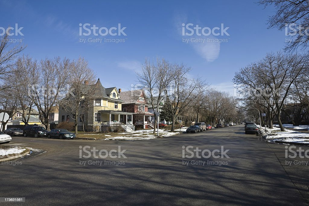 Residential Street Chicago West Side royalty-free stock photo