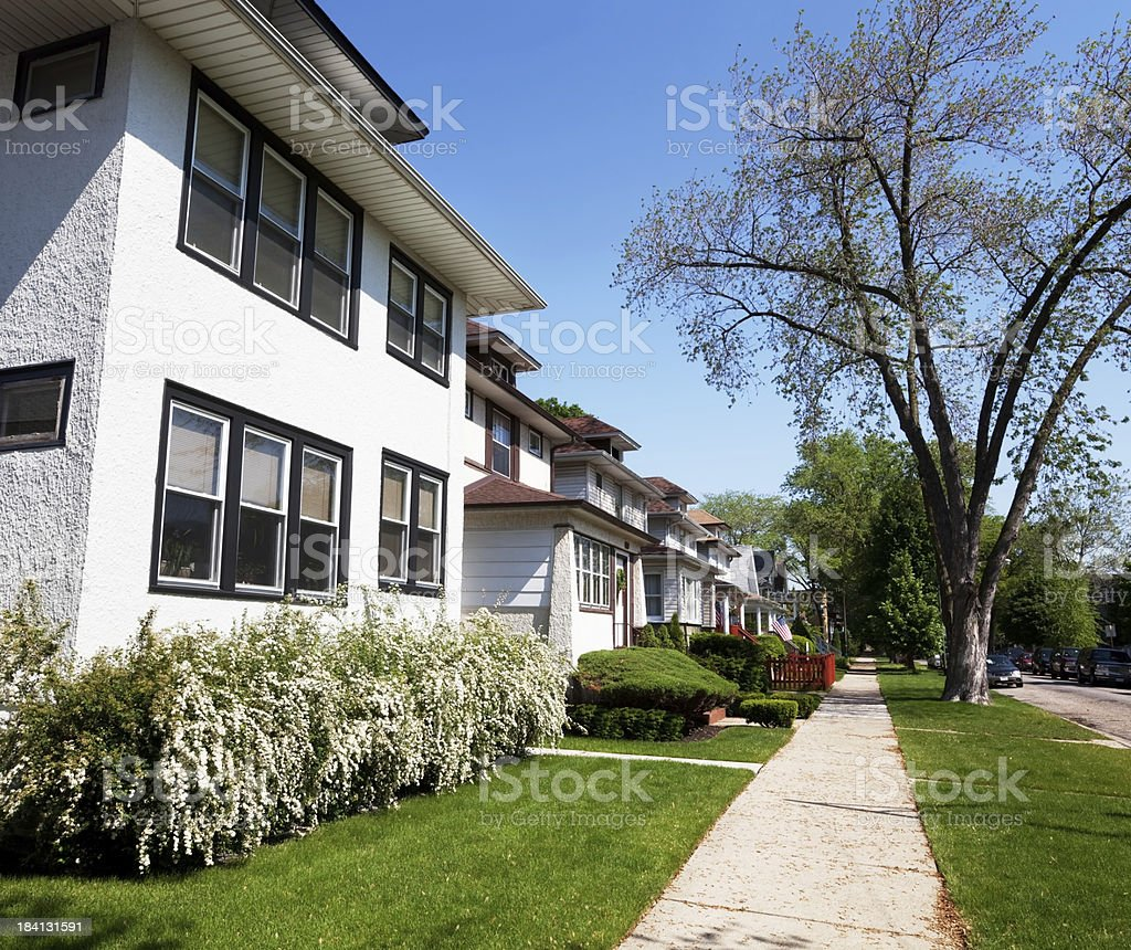 Residential street in Albany Park, Chicago royalty-free stock photo