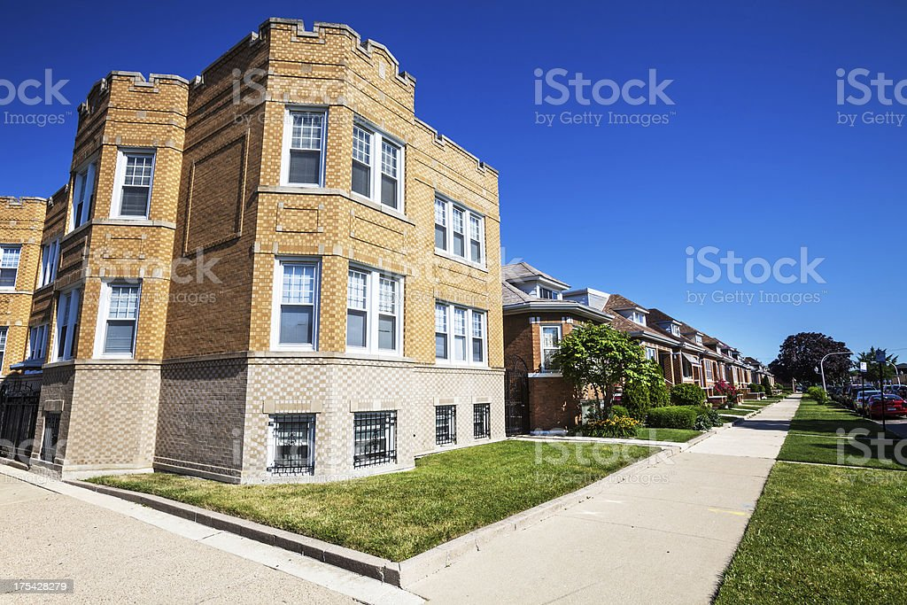 Residential Street in Archer Heights, Chicago royalty-free stock photo