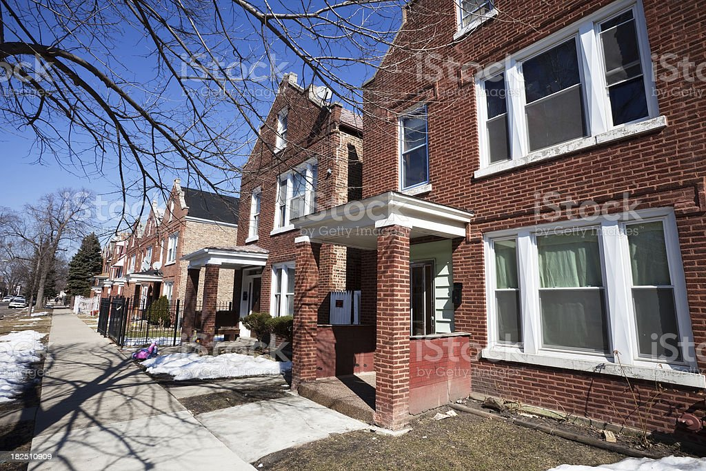 Residential Street in Brighton Park,, Chicago royalty-free stock photo