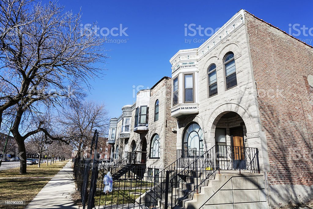 Residential Street in East Garfiled Park, Chicago royalty-free stock photo