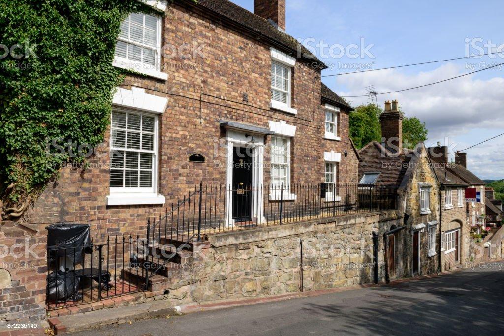 Residential street in Ironbridge, Shropshire, England stock photo