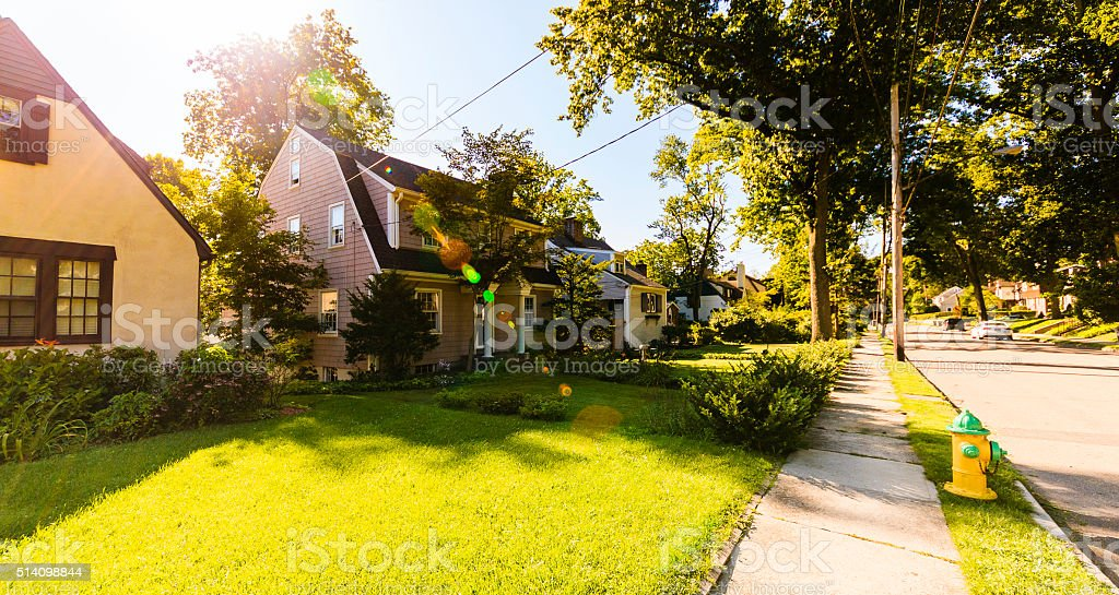 Residential street in New Rochelle, Westchester, at beautiful sunny day stock photo