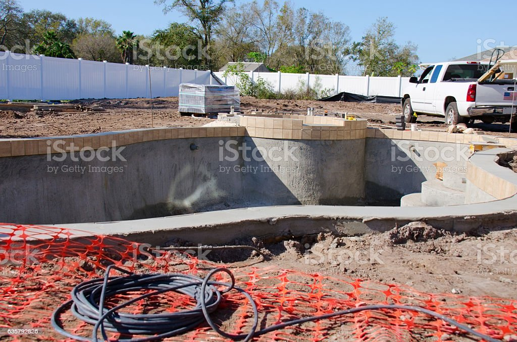 Residential swimming pool under construction – Foto