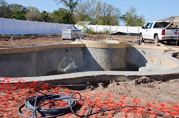Residential swimming pool under construction stock photo