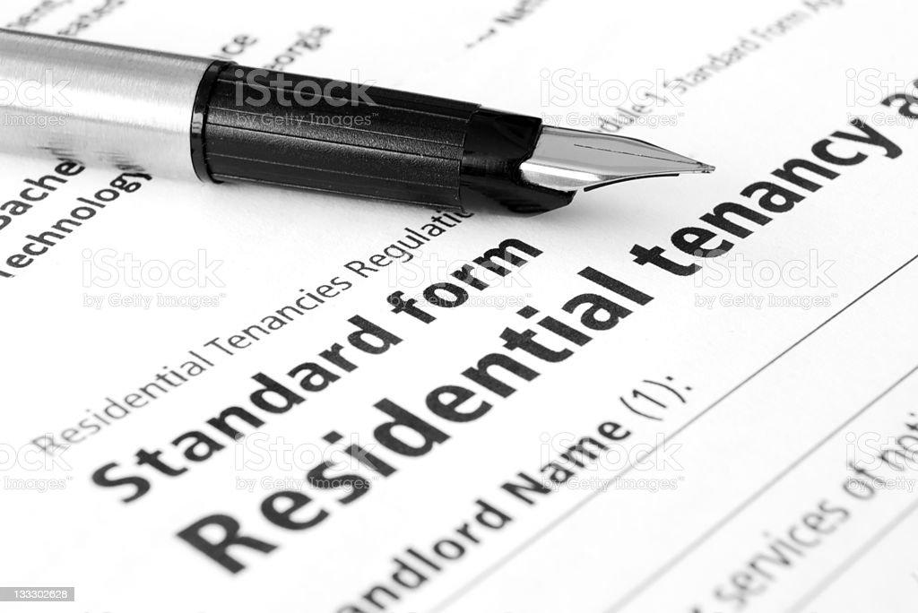Residential tenancy agreement stock photo