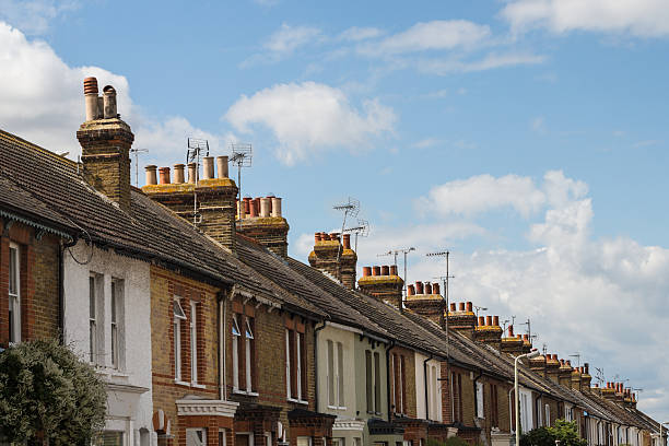residential terrace houses - terraced houses stock photos and pictures