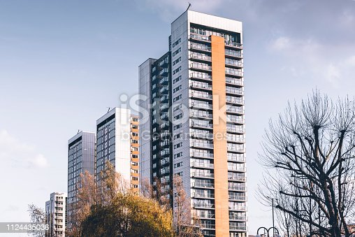 Residential tower blocks around East India in London.