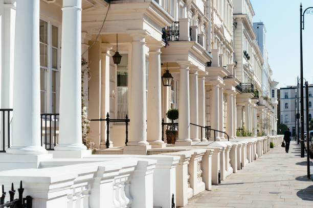 Residential townhouses and pedestrian walkway in Notting Hill London stock photo