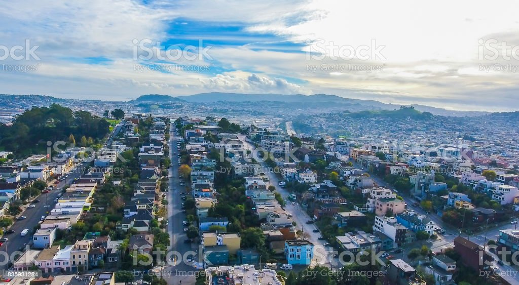 SF Residential View of hills stock photo