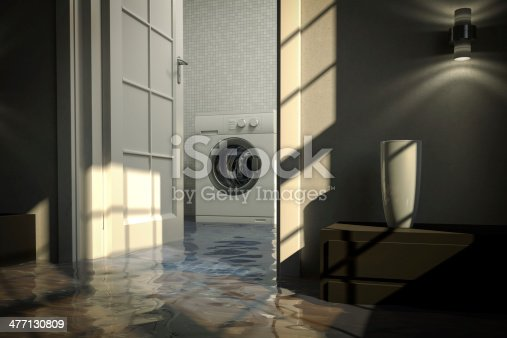 487597124 istock photo Residential water damage caused by defective washing machine 477130809