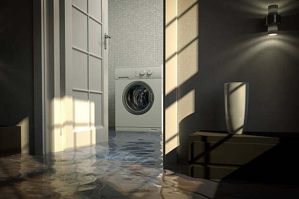 Residential water damage caused by defective washing machine stock photo