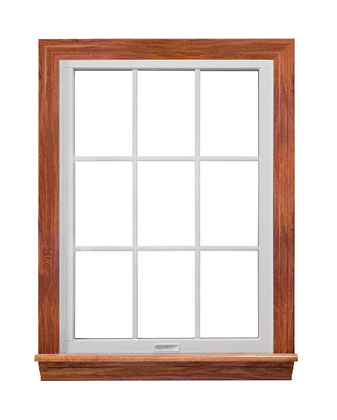 A residential wooden window frame stock photo