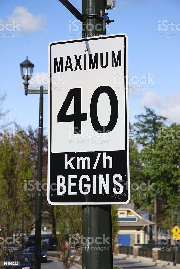 Residential zone - speed limit royalty-free stock photo