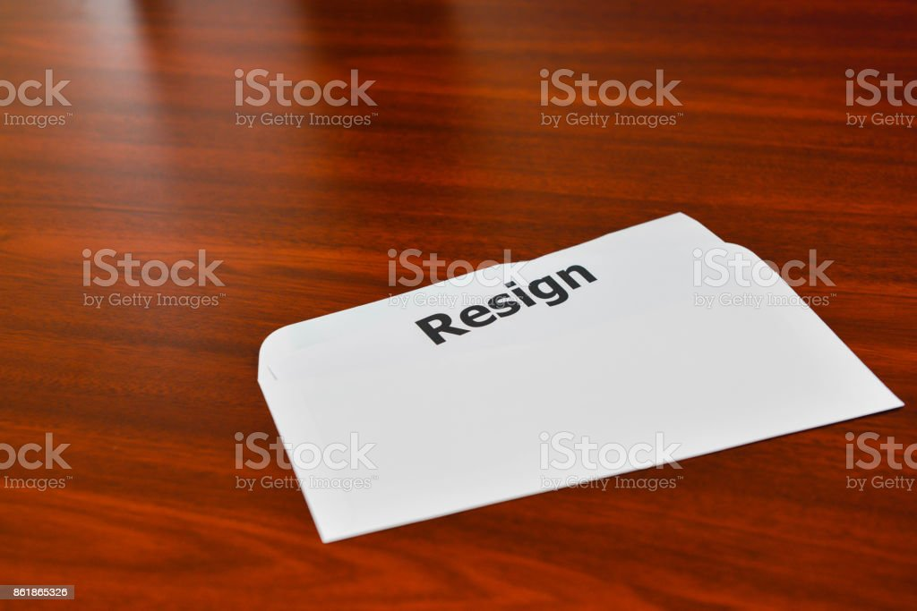 Resignation letter in the envelope on the
