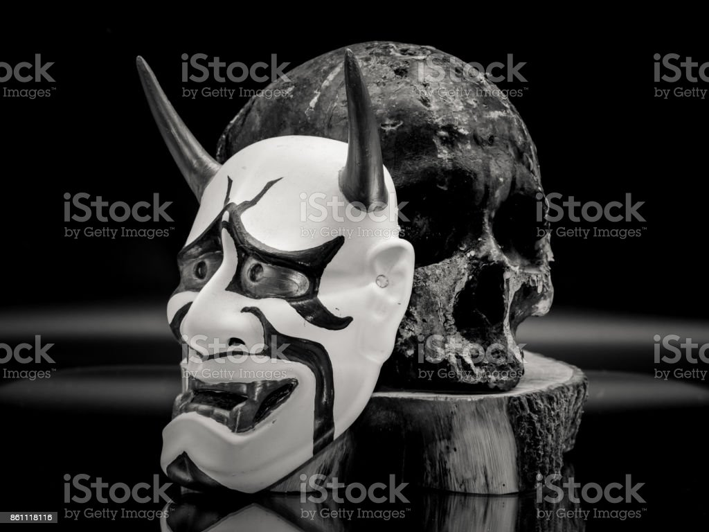 Resin Made Skull, Bushido Warrior and Kabuki Mask stock photo