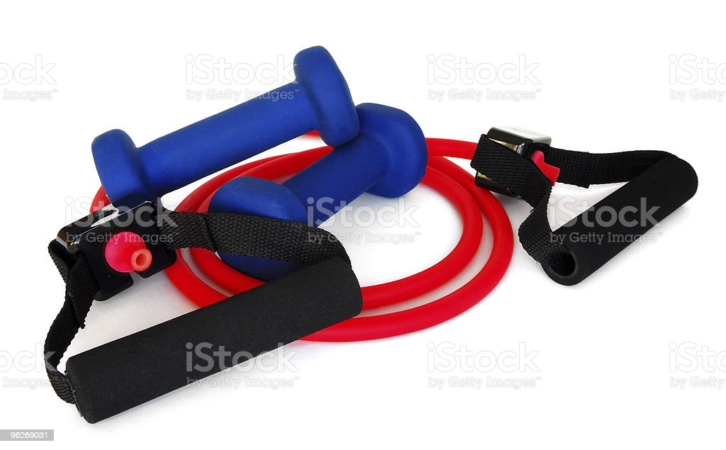 Resistance Band and Weights royalty-free stock photo