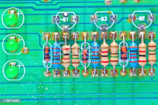 istock Resistor electronic components mounted on a motherboard 176679487