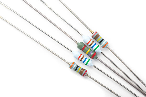 Resistors on white background stock photo