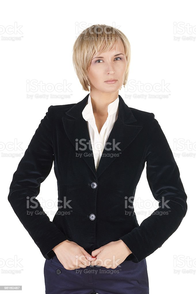 resolute blond woman in suit. royalty-free stock photo