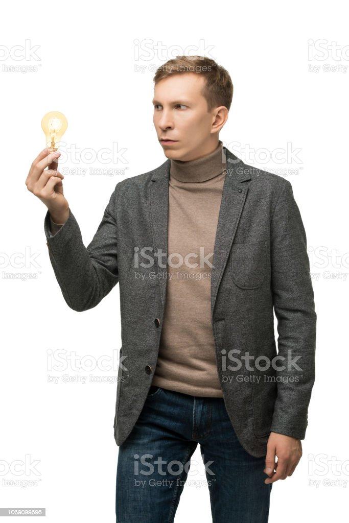 Resolute männlich in graue Jacke isoliert Porträt – Foto