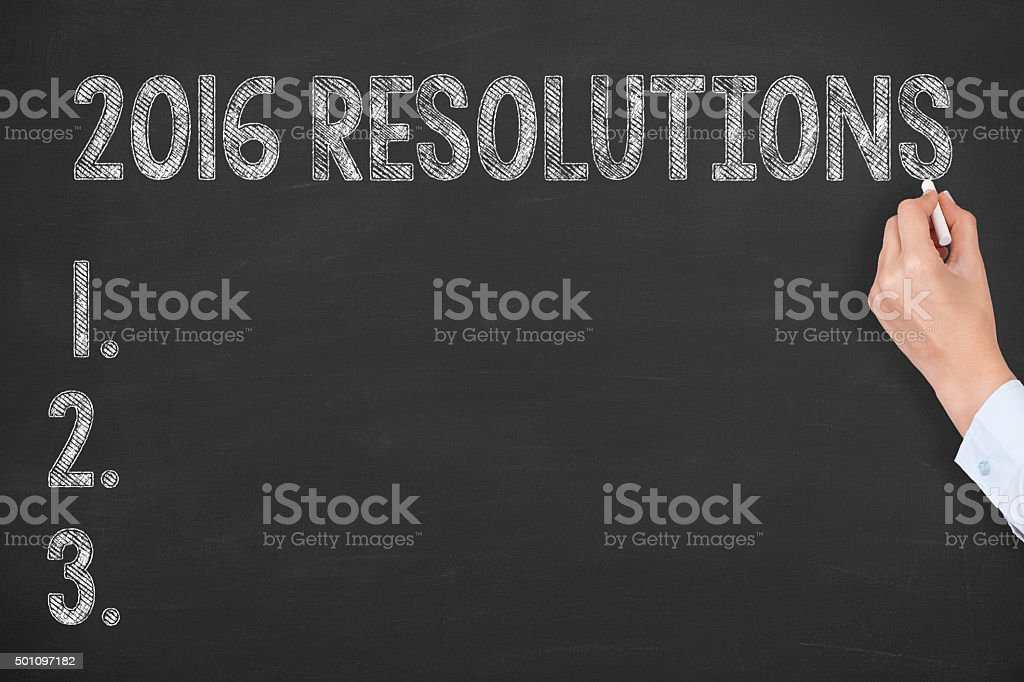 Resolutions Drawing 2016 on Blackboard stock photo