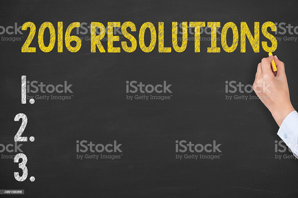 Resolutions Drawing 2016 on Chalkboard stock photo