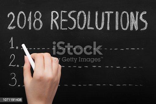 888342518 istock photo Resolutions Drawing 2018 on Blackboard 1071191408