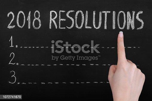 888342518 istock photo Resolutions Drawing 2018 on Blackboard 1072741670