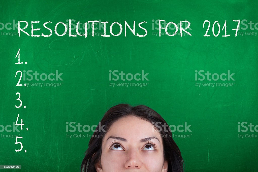 Resolutions for 2017 list stock photo
