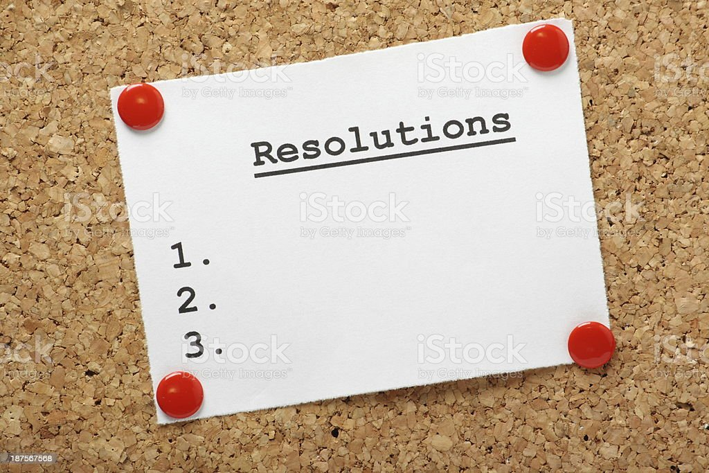 Resolutions List stock photo