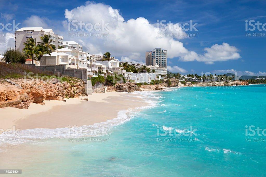 resort  at Cupecoy Beach, Dutch St.Martin, West Indies stock photo
