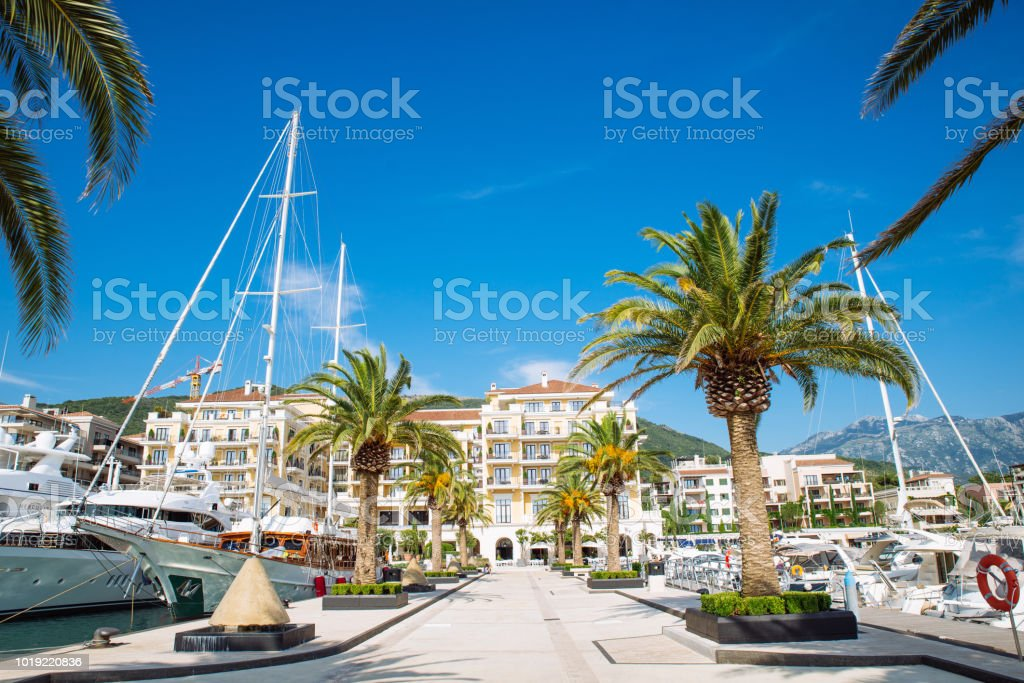 resort at sea beach with dock for yachts stock photo