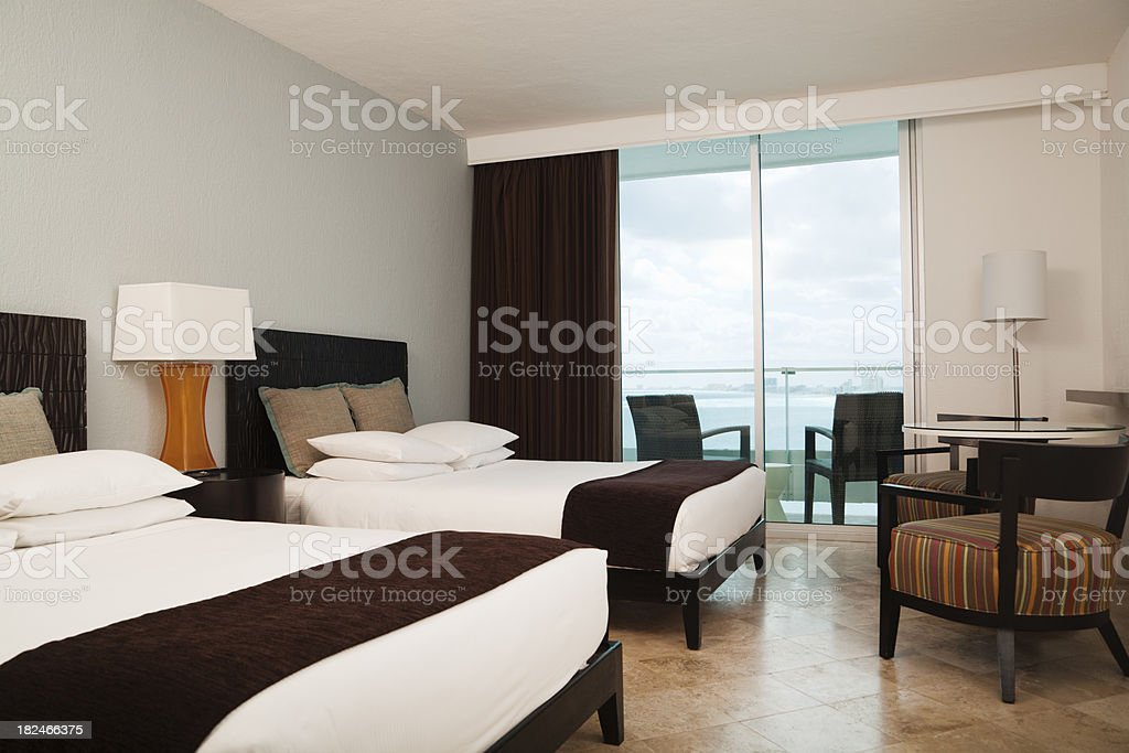 Resort Hotel Room with a view of the Caribbean Sea royalty-free stock photo